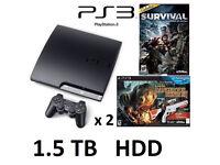 1.5TB HDD PS3 Slim and 41 top games Cabelas Rifle Gun Mega Bundle VGC