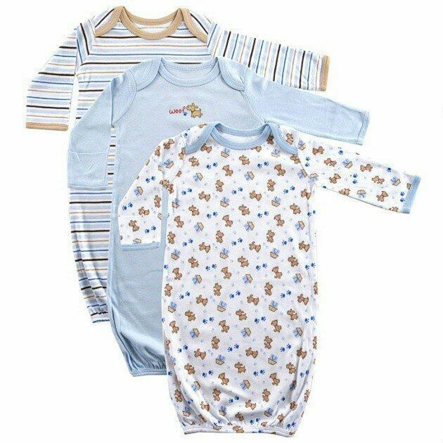 Luvable Friends Boy Sleep Gowns, 3-Pack, Blue Puppy