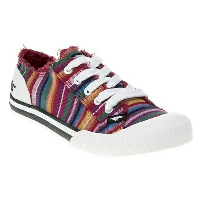 New WOMENS ROCKET DOG RED MULTI JAZZIN EDEN COTTON Sneakers
