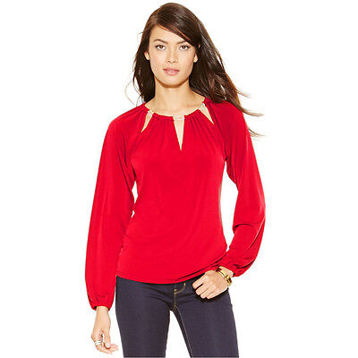 NWOT Michael Kors Cutout Chain-Link Top XS XSmall Red
