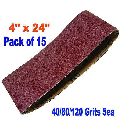 "15x Mix  4"" x 24"" Sanding Belts Aluminium Oxide 40/80/120  Grit Sander Abrasive"