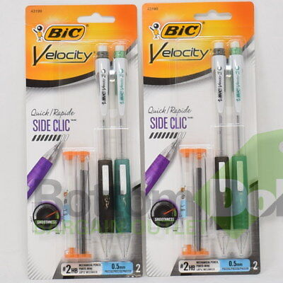 Bic Velocity Side Clic Mechanical Pencil With Refill Leads Erasers 2 Packs