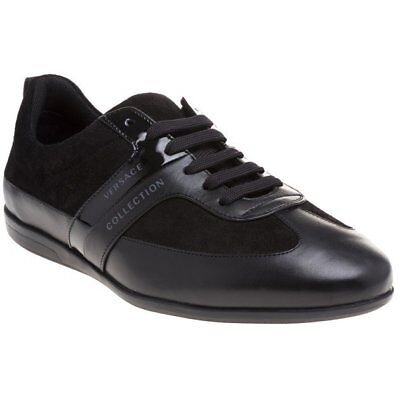New MENS VERSACE COLLECTION BLACK FORMAL LEATHER Sneakers
