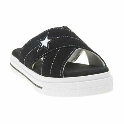 New WOMENS CONVERSE BLACK ONE STAR SUEDE SANDALS SLIP ON STYLE