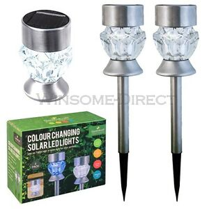2 x Stainless Steel 2 in 1 Solar LED Post Table Colour Changing Garden Lights