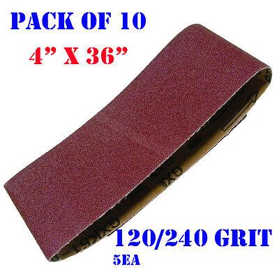 "10x Mix  4"" x 36"" Sanding Belts Aluminium Oxide 120/240  Grit Sander Abrasive"
