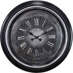 Large 23 Wall Clock Silver Trim W/ Raised Numerals, Quartz Movement - NEW