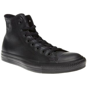 New-Mens-Converse-Black-All-Star-Hi-Leather-Trainers-Top-Lace-Up