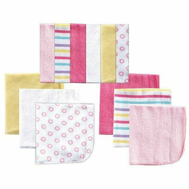 Luvable Friends Girl Washcloths, 12-Pack, Pink
