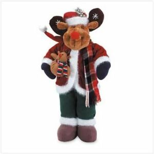 Christmas Plush Moose Statue Ornament 2-Feet Tall Brand New