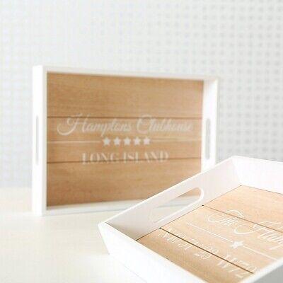 Tablett Dekotablett Holz weiß braun Holztablett Tischdeko Dekoration Hamptons ()