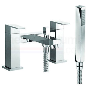 Prestige Salvini Pillar Mounted Bath Shower Mixer Tap with Shower Kit and Wall B