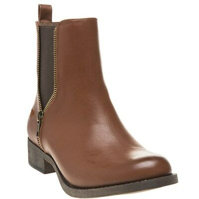 New WOMENS ROCKET DOG BROWN CAMILLA PU BOOTS ANKLE