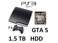 PS3 Slim 1.5TB HDD + 2 x controllers + GTA V Game Bundle