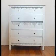 White Tallboy, White Timber Chest of Drawers, White Timber Drawer Murrumbeena Glen Eira Area Preview