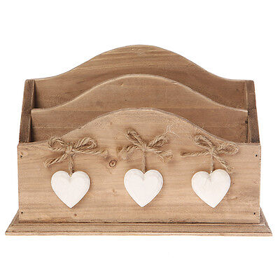 Shabby Wooden Chic Rustic Letter/Post Rack with Three Hearts