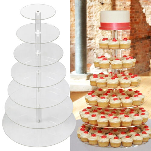 acrylic round cupcake stand wedding birthday cake display tower ebay