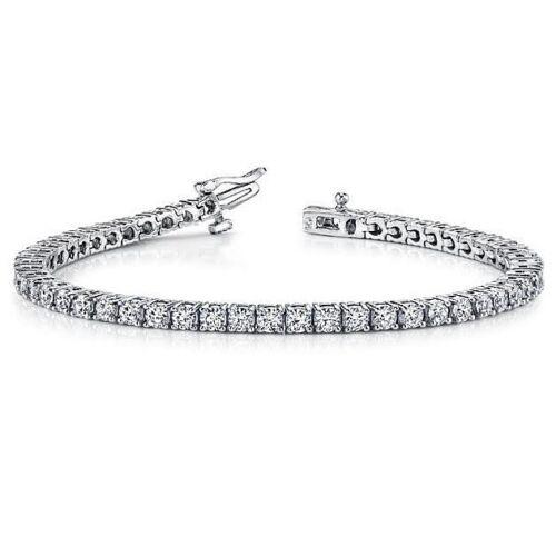 6.35 ct round cut white gold 14k diamond tennis bracelet D vvs2  NOT ENHANCED