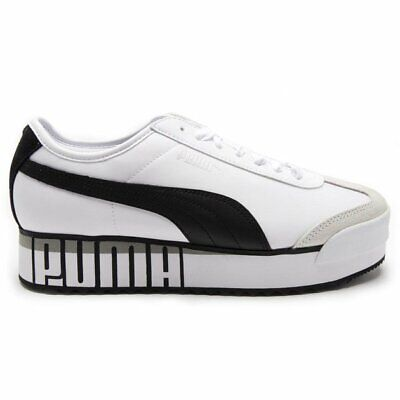 New Womens Puma White Roma Amor Logo Nylon Trainers Court Lace Up