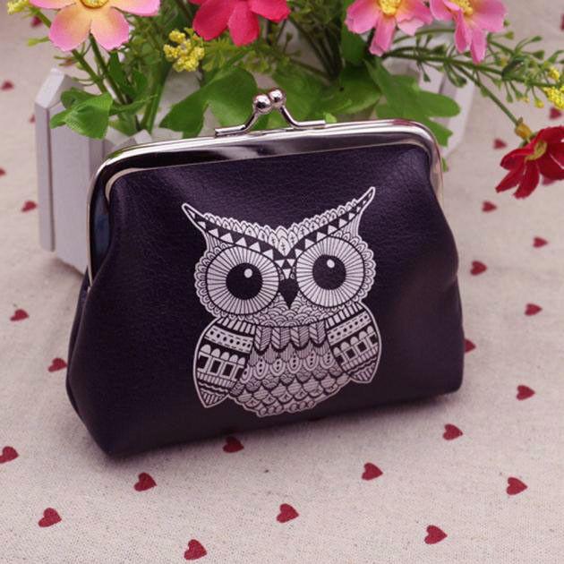 Womens Owl Wallet Card Holder Coin Purse Clutch Handbag