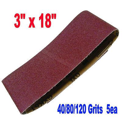 "15x Mix 3"" x 18"" Sanding Belts Aluminium Oxide 40/80/120 Grits Sander Abrasive"