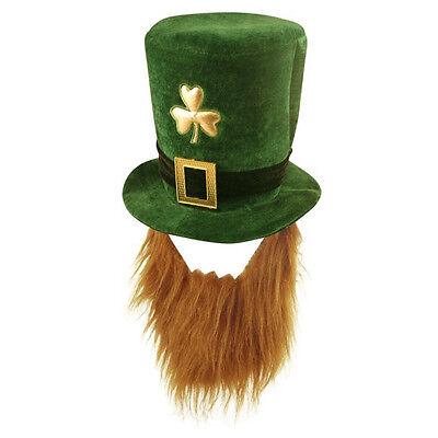 k's Day Novelty Fancy Dress Leprechaun Hat with Beard (St Patrick Leprechaun)