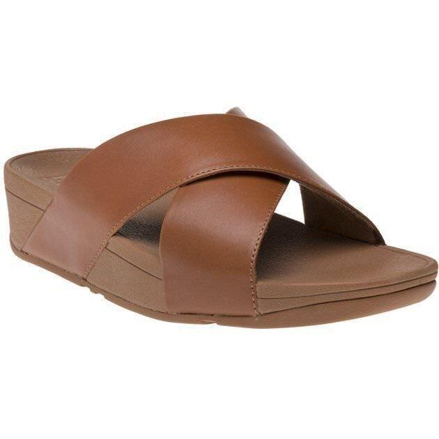 70b427bb3b927f FitFlop Womens Caramel Brown Lulu Cross Slide Leather Sandals Slides Size 8  EU42