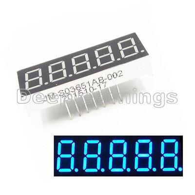 2pcs 0.36 Inch 5 Digital Led Display 7 Seg Segment Common Cathode Blue Module