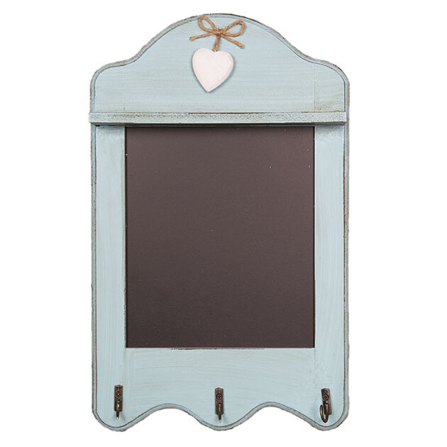 Kitchen Blackboard 3 Hooks for Keys Tea Towel Scalloped Memo Board Duck Egg Blue