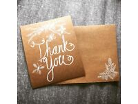 20 Paperchase Vintage Flat Cards with Printed Envelope Thank You Cards