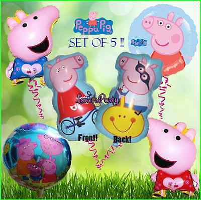 5 Piece Set of Peppa Pig Birthday Party Balloon balloons foil latex