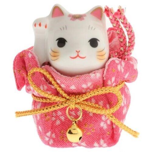Japanese Porcelain Maneki Neko Lucky Cat with Pink Sakura Kimono Pouch Figurine