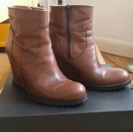 Dune leather wedge boots size 4