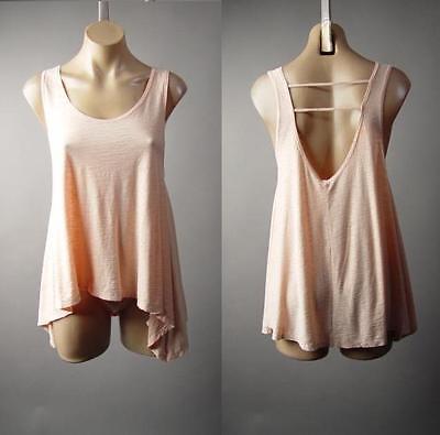 Blush Pink Low Scoop Back Swing Trapeze Cotton Modal Tank Top 217 mv Shirt S M L ()