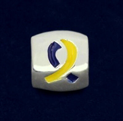 - Down Syndrome Awareness Charm Yellow Blue Ribbon Large Hole Bead