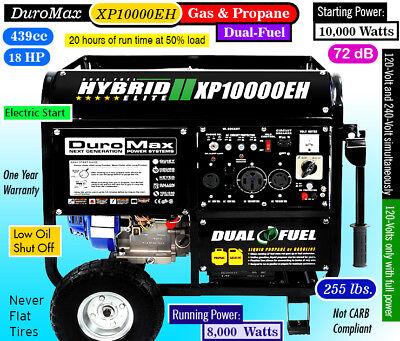 DuroMax XP10000EH- Hybrid Dual Fuel Gas/Propane/RV-50A CALIF/EPA-No PuertoRico