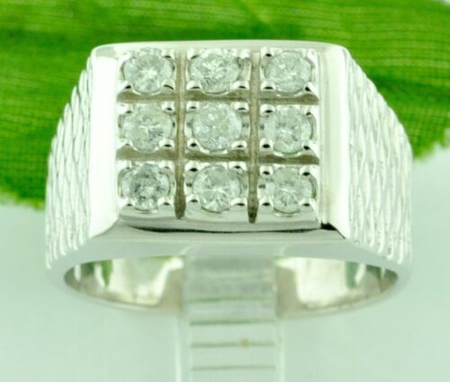 0.63 Ct 14k Mens Diamond Ring White Gold 8.80 Gram Domino Style Pre Owned