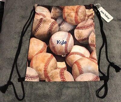 NWT Baseballs Drawstring Backpack Nap Sack Back Pack Gym Bag String Kyle embrdry Backpack Nap Sack