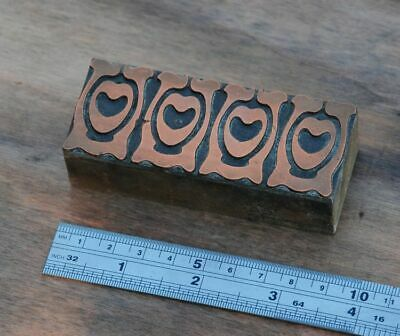 Letterpress Printing Block Ornament Art Nouveau Frame Wood Rare Copper Rare Old.