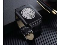 Genuine leather black mobile watch