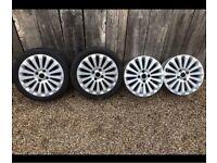 """X4 16"""" Genuine Ford Fiesta Alloy Wheels Alloys With Tyres Titanium Zetec 4x108"""