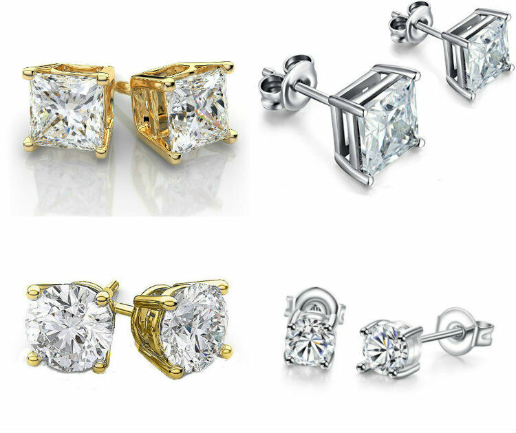 Gold Plated Stud Crown Round Crystal Earrings 6mm CZ Cubic Zirconia Silver Gold Earrings