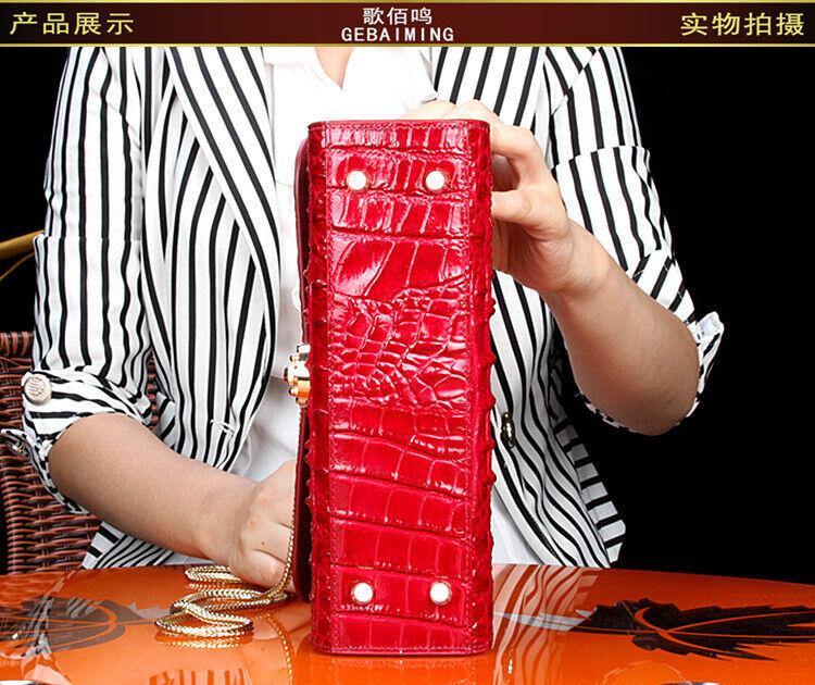 Luxury Real Thai Crocodile Alligator Skin Women Handbag Satchel Hobo Tote Bag