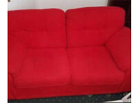 Sofa and arm chair red nearly new