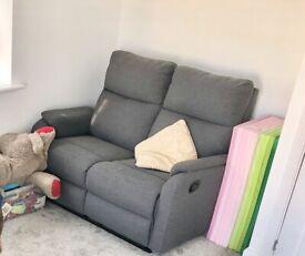 Baxter 2 seater grey fabric recliner sofa