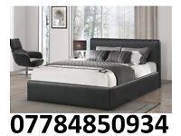 NEW* DOUBLE LEATHER BED + FREE 9 INCH MATTRESS £99