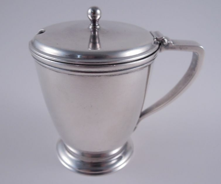 TIFFANY STERLING SILVER ELEGANT MUSTARD POT WITH ORIGINAL GLASS LINER ANTIQUE