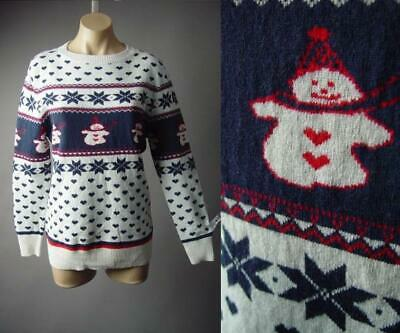 White Navy Blue Red Fair Isle Heart Pattern Winter Pullover 296 mvp Sweater M L ()