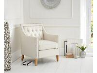 Cream Linen Armchair