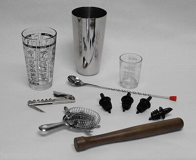 11 Pc. Professional Bartender Drink Muddler Set Bar Tools Accessories Kit